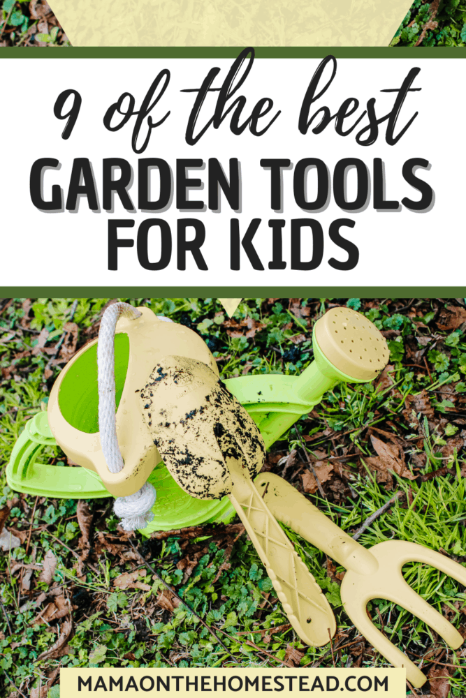 Image of green and yellow watering can, trowel, and garden cultivator on grass | Words: 9 of the best Garden Tools for Kids