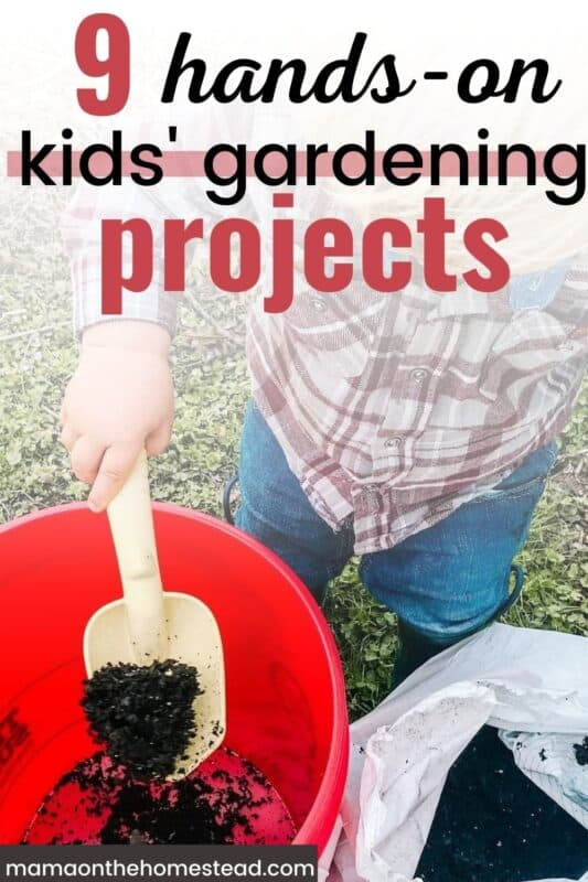Boy putting soil in a red bucket |  9 hands-on Kids' Gardening Projects