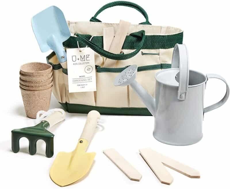 U+M Montessori tool set wit grey watering can, wooden plant markers, shovel, trowel, seed pots, cultivator, and carrying bag | Kids Garden Tools