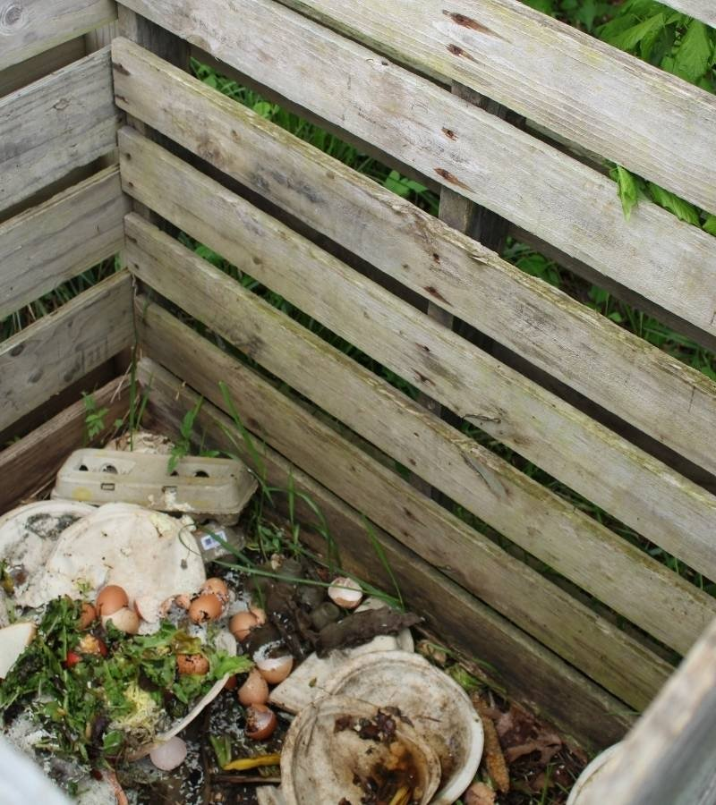 Wooden pallet compost bin with scraps inside | Mama on the Homestead