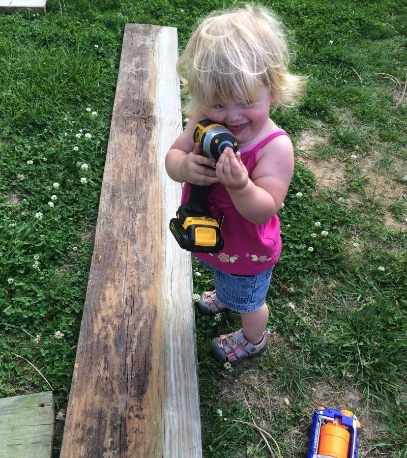 Girl with an impact driver | Mama on the Homestead