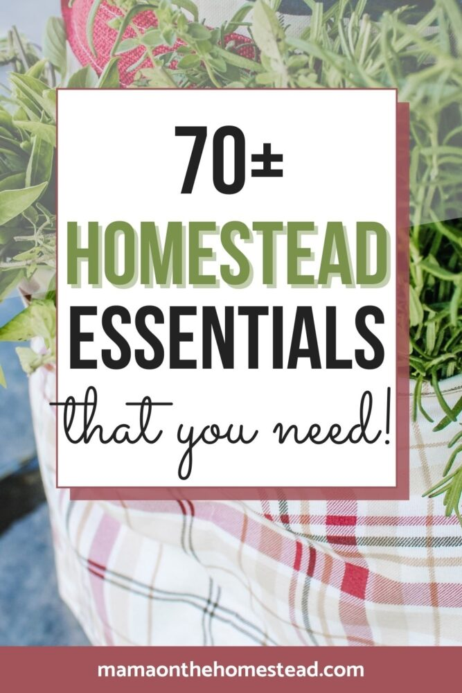 Image of a garden apron with herbs in it. Words: 70+ Homestead Essentials that you need! | Mama on the Homestead