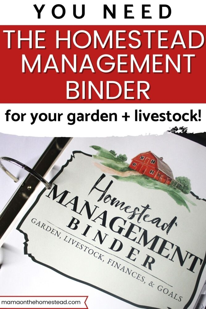 Image of the Homestead Management Binder Cover Sheet Words: You Need The Homestead Management Binder for Your Garden + Livestock! | Mama on the Homestead