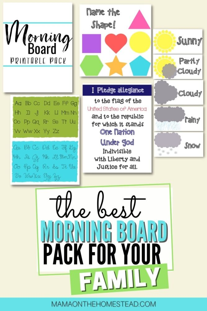The Morning Board Printable Pack Preview   Words: The BEST Morning Board Pack for Your Family   Mama on the Homestead